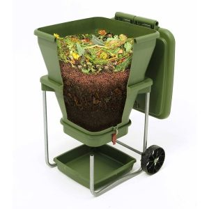 Worm castings continuously flow downward, gradually compacting neatly at the bottom ready for removal.