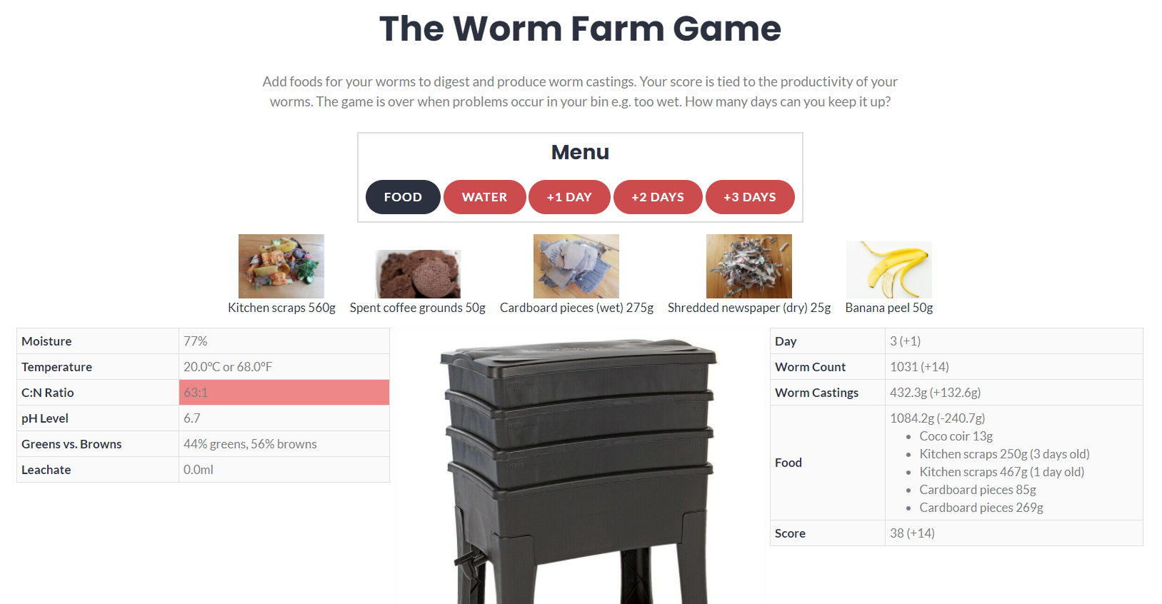 Add foods for your worms to digest and produce worm castings. The worm farm game is over when problems occur e.g. too wet.